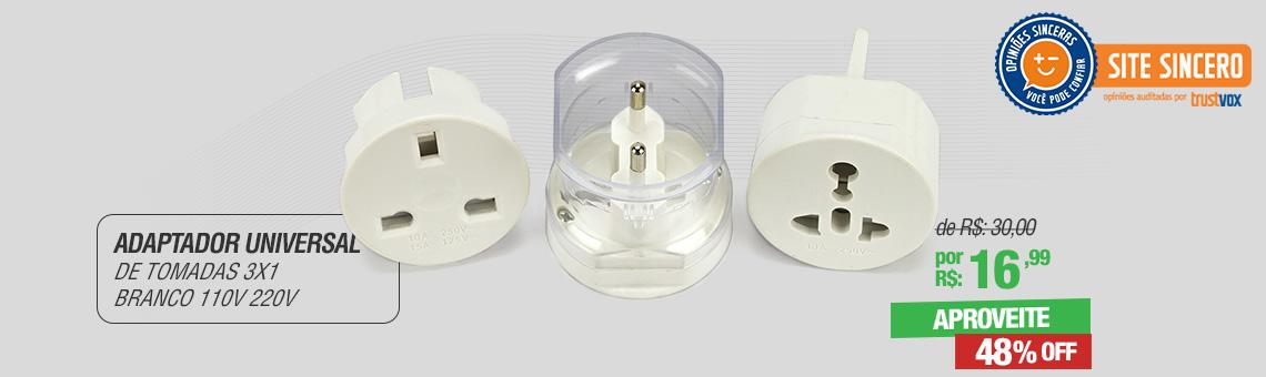 Adaptador Universal de Tomadas 3x1 Branco 110v 220v