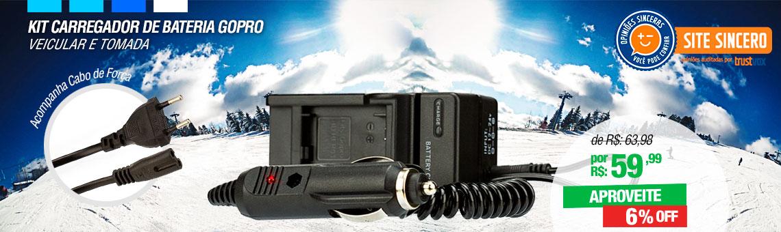 Kit Carregador de Bateria GoPro - Veicular e Tomada