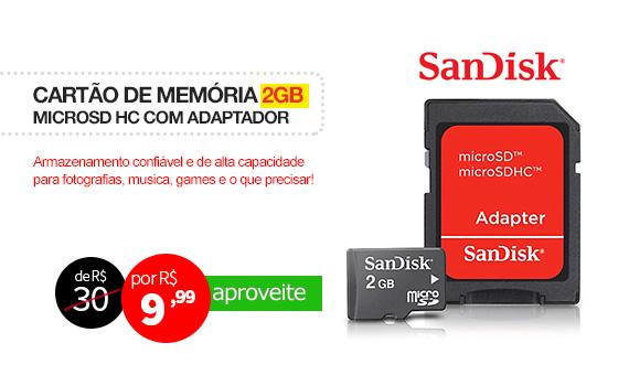 Cartão de Memória 2GB MicroSD com Adaptador, HD Video - ScanDisk